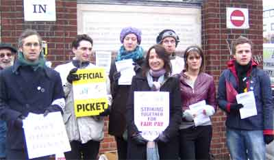picket line in front of Goldsmiths College